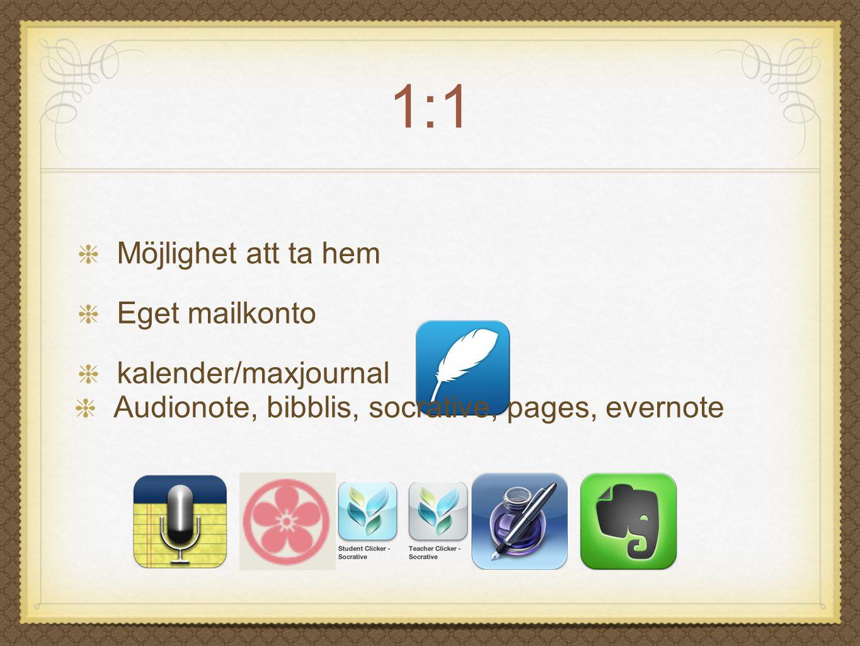 1:1 Möjlighet att ta hem Eget mailkonto kalender/maxjournal
