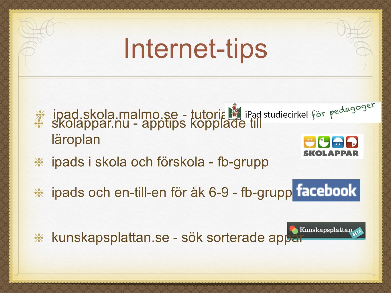 Internet-tips ipad.skola.malmo.se - tutorial