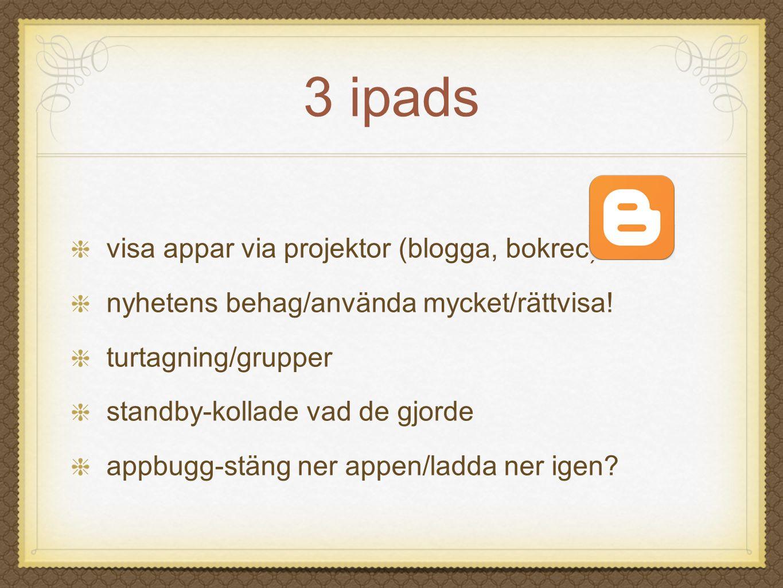 3 ipads visa appar via projektor (blogga, bokrec)