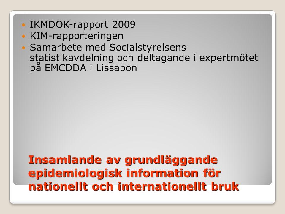 IKMDOK-rapport 2009 KIM-rapporteringen. Samarbete med Socialstyrelsens statistikavdelning och deltagande i expertmötet på EMCDDA i Lissabon.