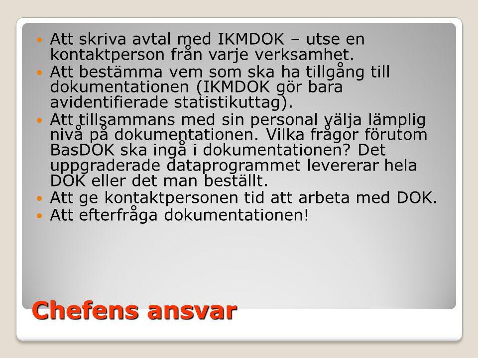Att skriva avtal med IKMDOK – utse en kontaktperson från varje verksamhet.