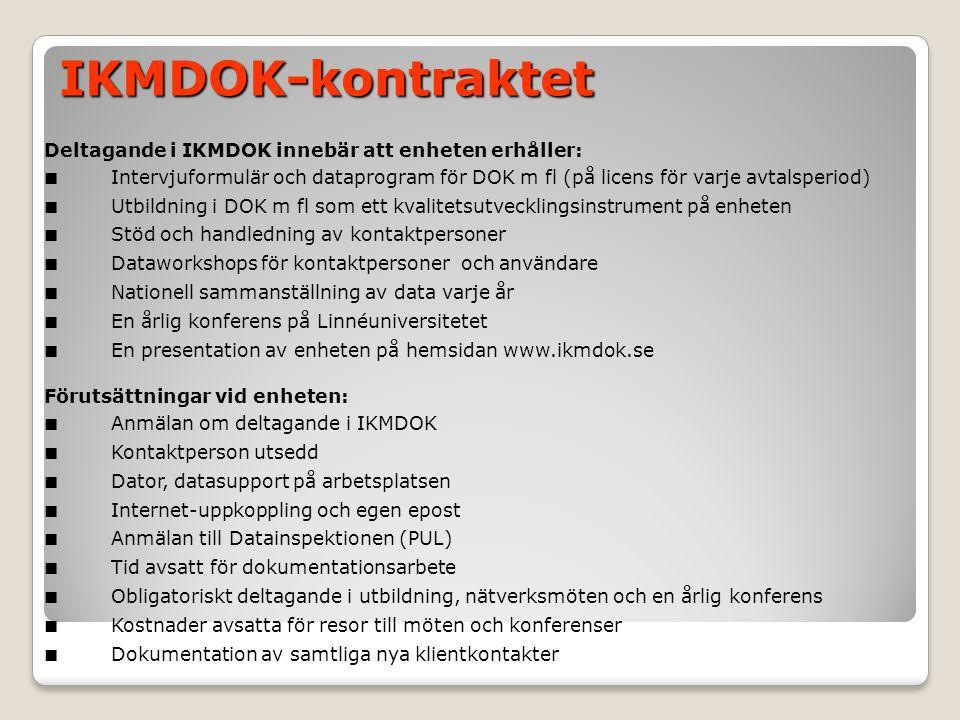 IKMDOK-kontraktet Deltagande i IKMDOK innebär att enheten erhåller: