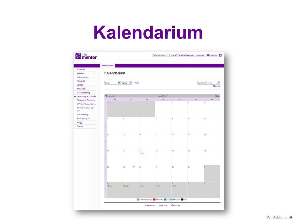 Kalendarium © InfoMentor AB