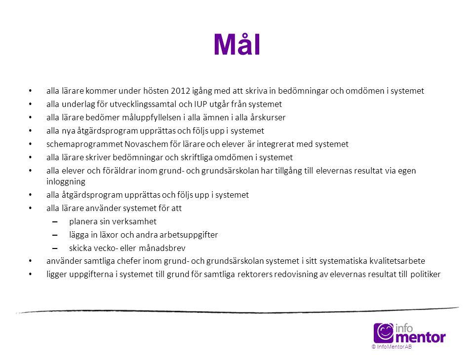 Mål alla lärare kommer under hösten 2012 igång med att skriva in bedömningar och omdömen i systemet.