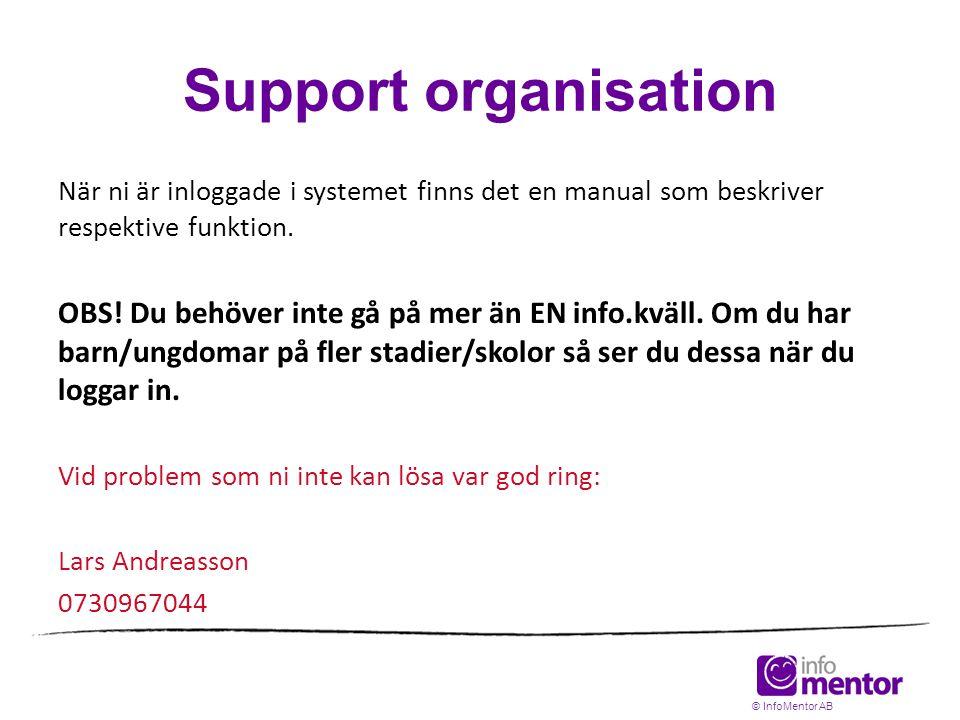 Support organisation När ni är inloggade i systemet finns det en manual som beskriver respektive funktion.