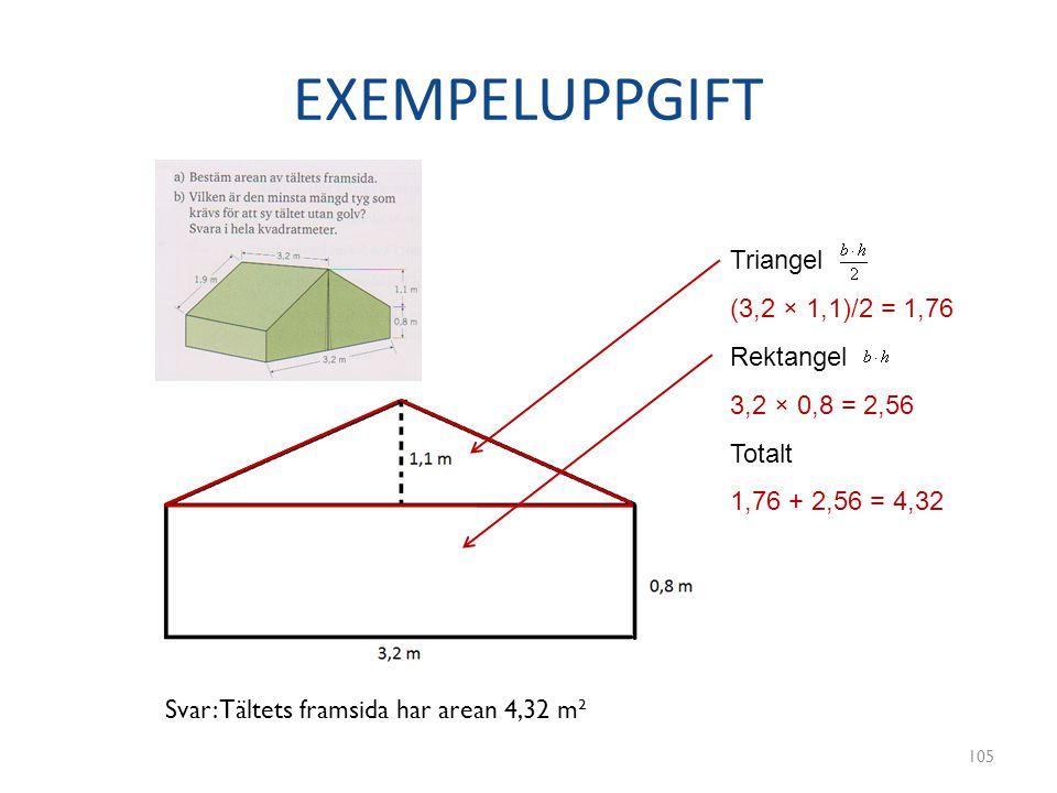 EXEMPELUPPGIFT Triangel (3,2 × 1,1)/2 = 1,76 Rektangel