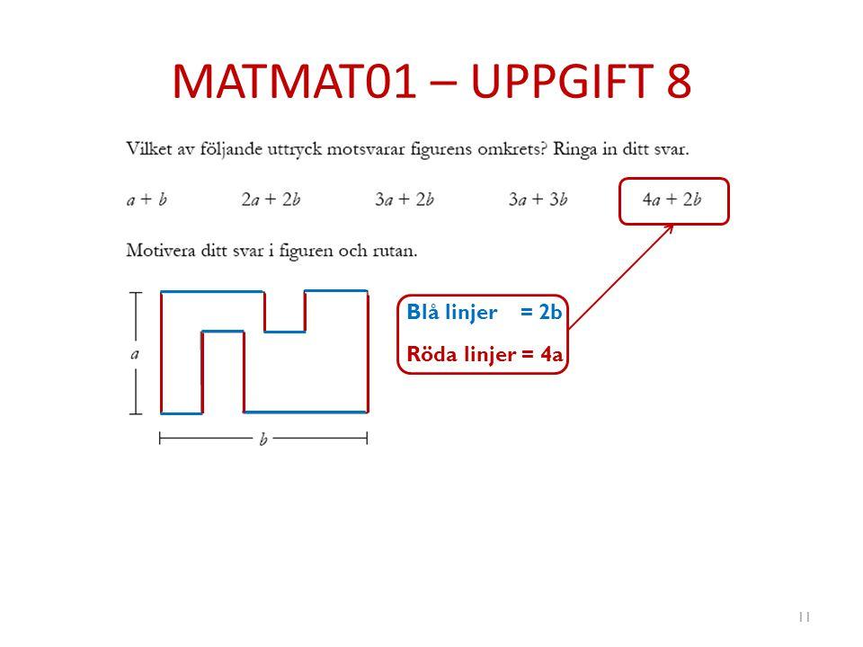 MATMAT01 – UPPGIFT 8 Blå linjer = 2b Röda linjer = 4a