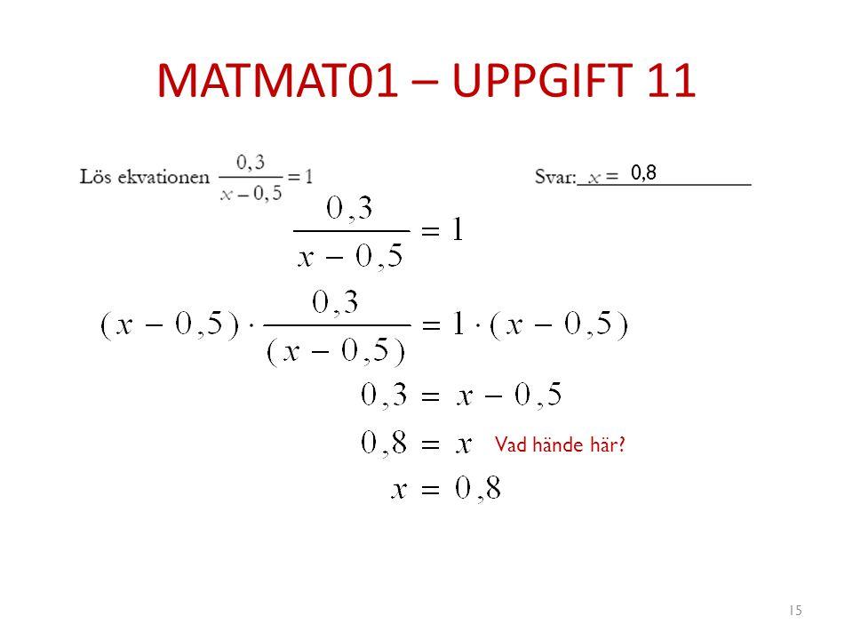 MATMAT01 – UPPGIFT 11 0,8 Vad hände här