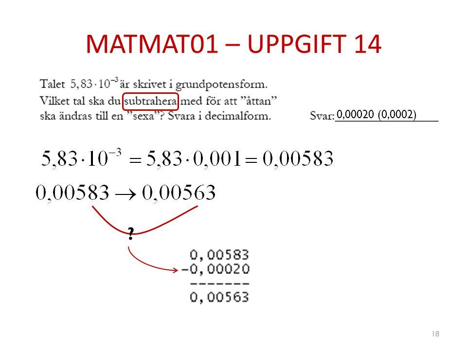 MATMAT01 – UPPGIFT 14 0,00020 (0,0002)