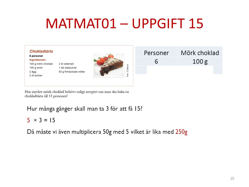 MATMAT01 – UPPGIFT 15 Personer Mörk choklad 6 100 g 3 50g