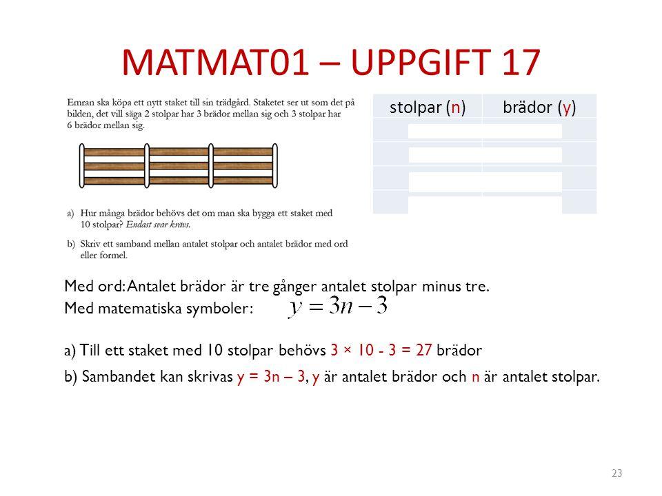 MATMAT01 – UPPGIFT 17 stolpar (n) brädor (y) 2 3 6 4 9 5 12