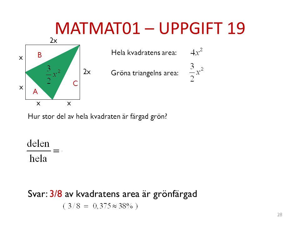 MATMAT01 – UPPGIFT 19 Svar: 3/8 av kvadratens area är grönfärgad 2x