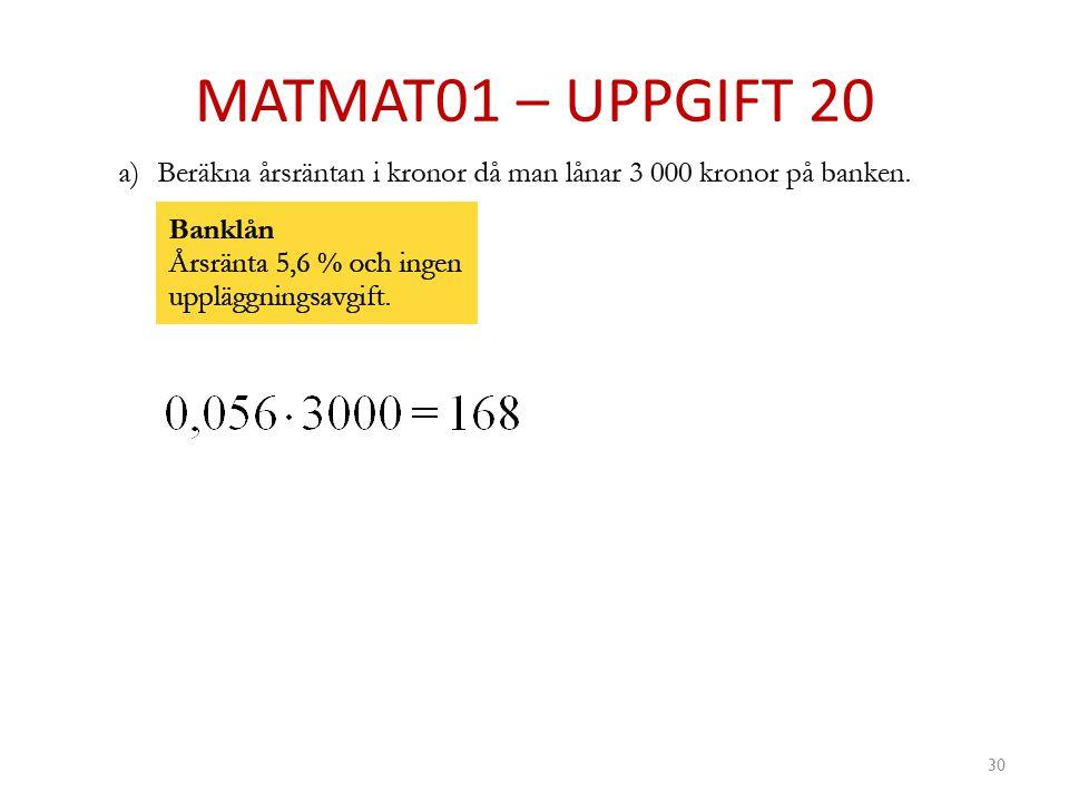MATMAT01 – UPPGIFT 20
