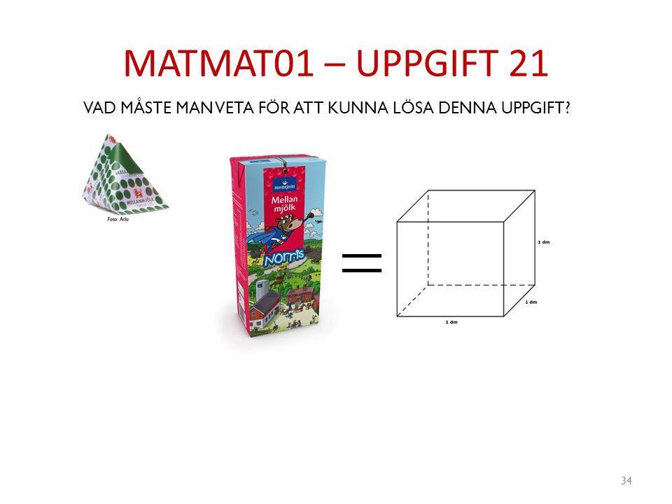 MATMAT01 – UPPGIFT 21 VAD MÅSTE MAN VETA FÖR ATT KUNNA LÖSA DENNA UPPGIFT