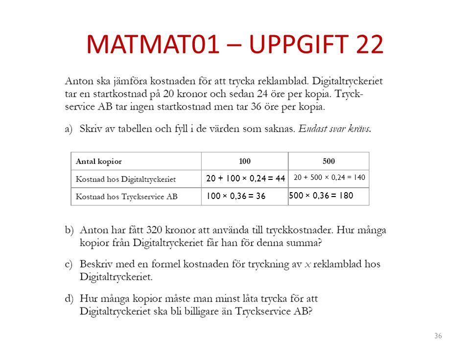 MATMAT01 – UPPGIFT 22 20 + 100 × 0,24 = 44 20 + 500 × 0,24 = 140 100 × 0,36 = 36 500 × 0,36 = 180