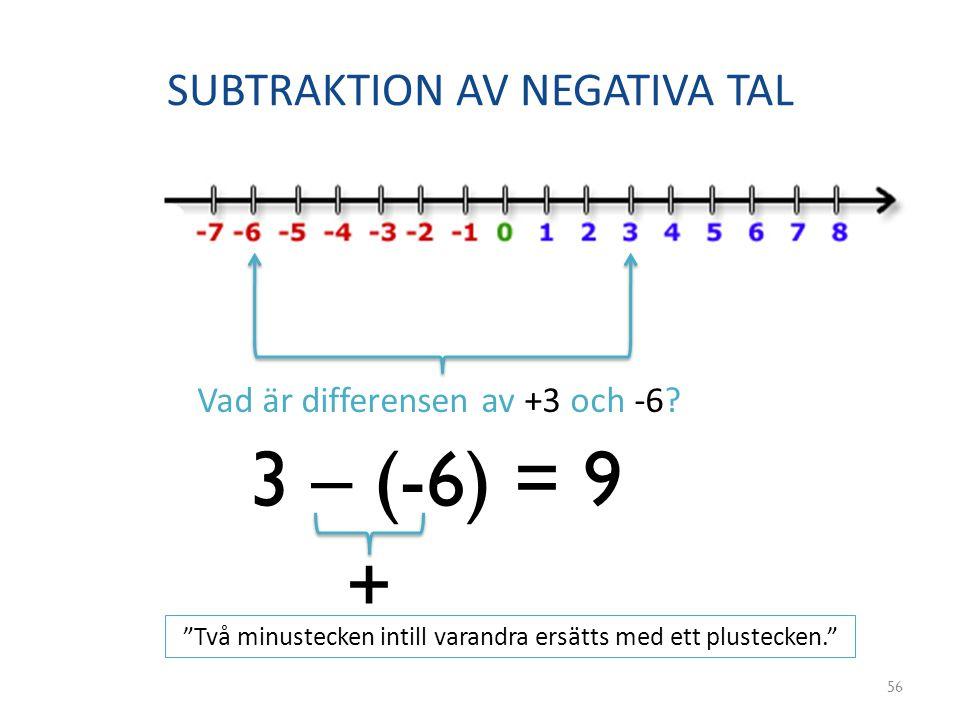 SUBTRAKTION AV NEGATIVA TAL