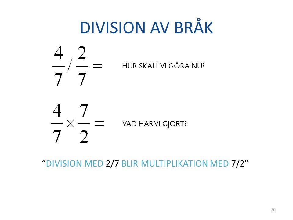 DIVISION AV BRÅK DIVISION MED 2/7 BLIR MULTIPLIKATION MED 7/2