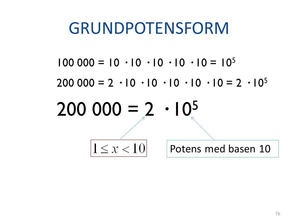 GRUNDPOTENSFORM 100 000 = 10 · 10 · 10 · 10 · 10 = 105. 200 000 = 2 · 10 · 10 · 10 · 10 · 10 = 2 · 105.