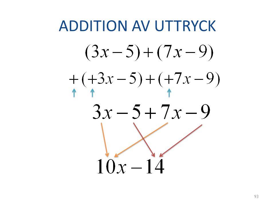 ADDITION AV UTTRYCK
