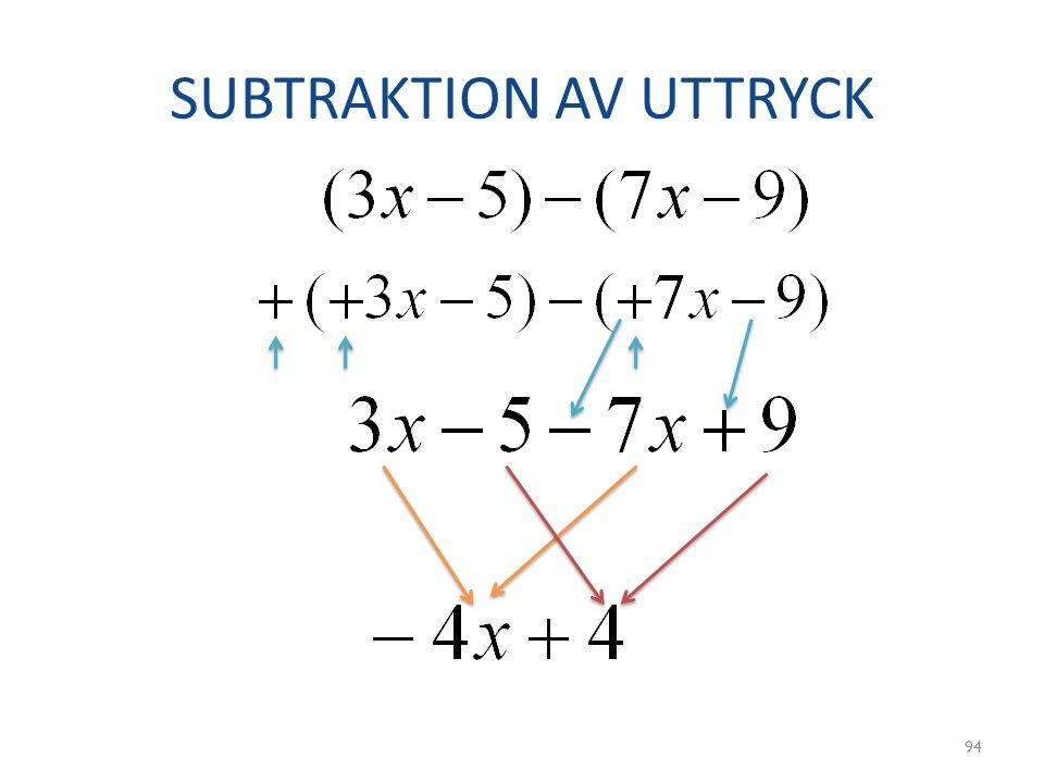 SUBTRAKTION AV UTTRYCK