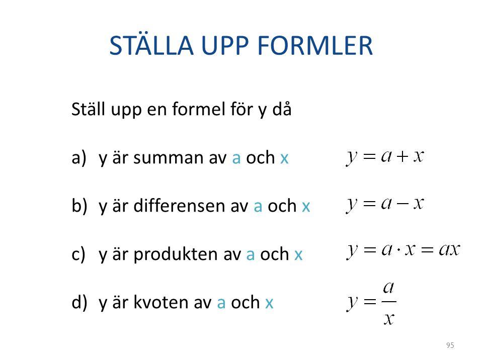 STÄLLA UPP FORMLER Ställ upp en formel för y då y är summan av a och x