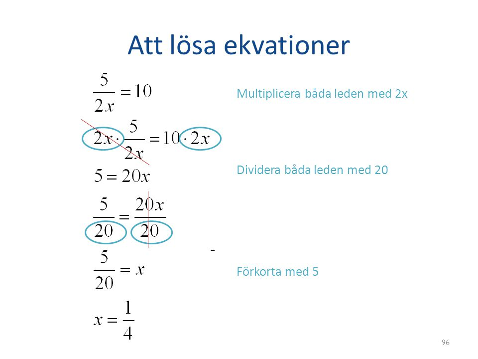 Att lösa ekvationer Multiplicera båda leden med 2x