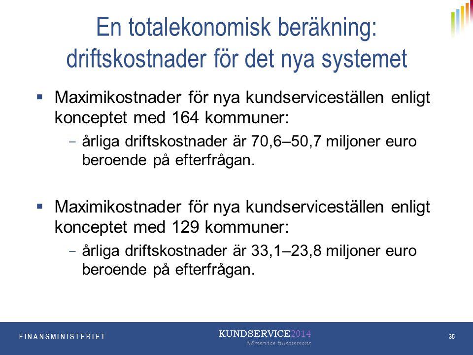 En totalekonomisk beräkning: driftskostnader för det nya systemet