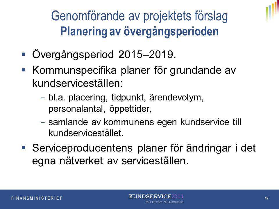 Genomförande av projektets förslag Planering av övergångsperioden