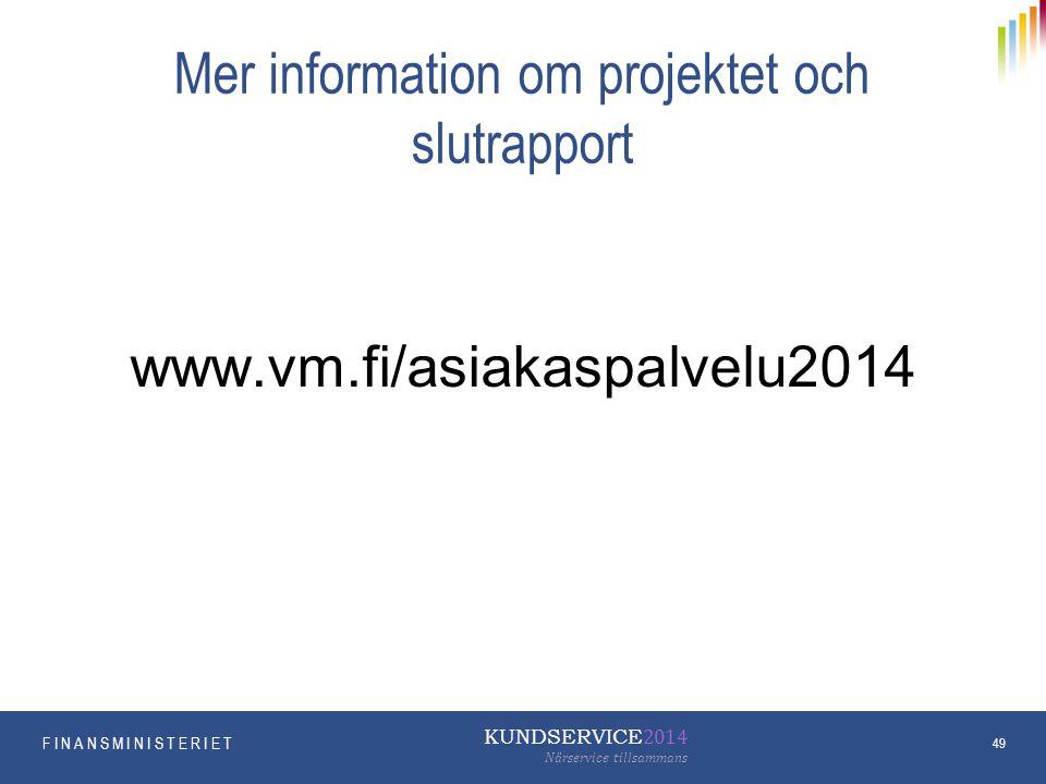 Mer information om projektet och slutrapport