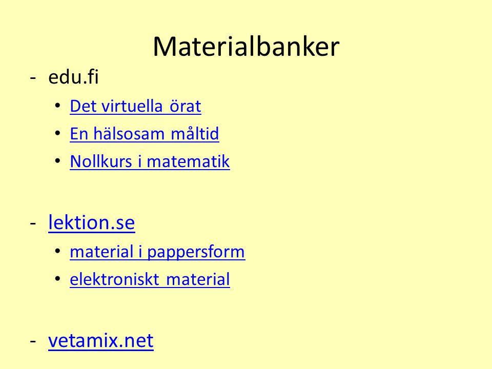 Materialbanker edu.fi lektion.se vetamix.net Det virtuella örat