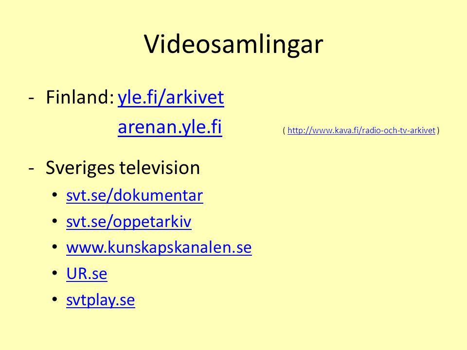 Videosamlingar Finland: yle.fi/arkivet