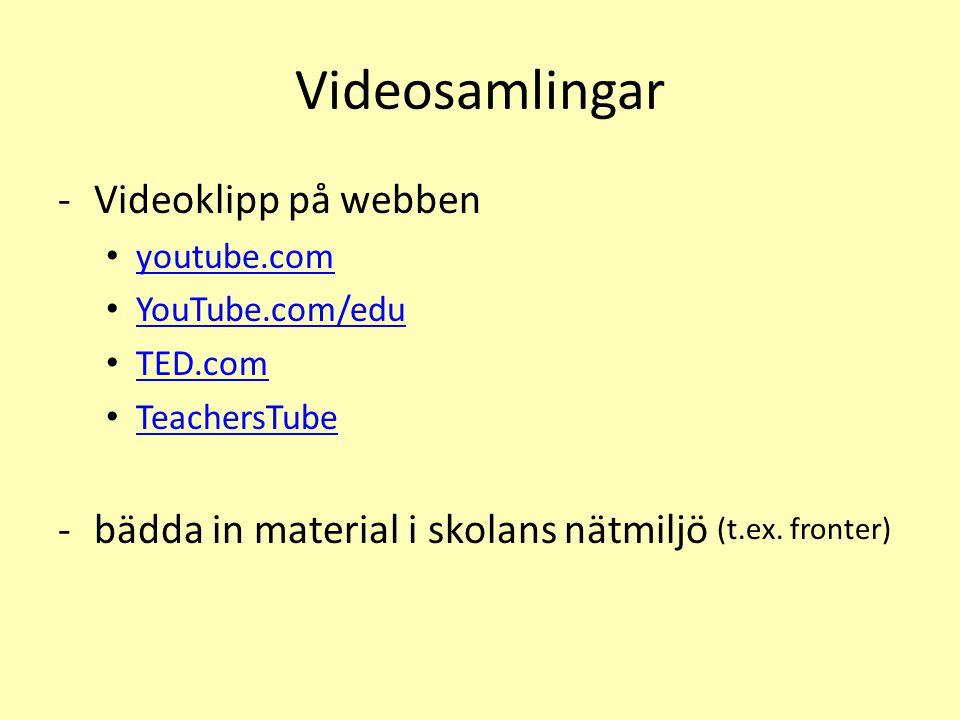 Videosamlingar Videoklipp på webben