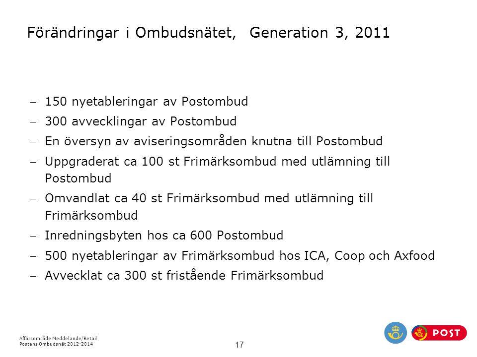 Förändringar i Ombudsnätet, Generation 3, 2011