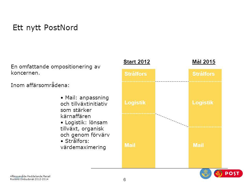 Ett nytt PostNord Start 2012 Mål 2015 Strålfors Strålfors Logistik
