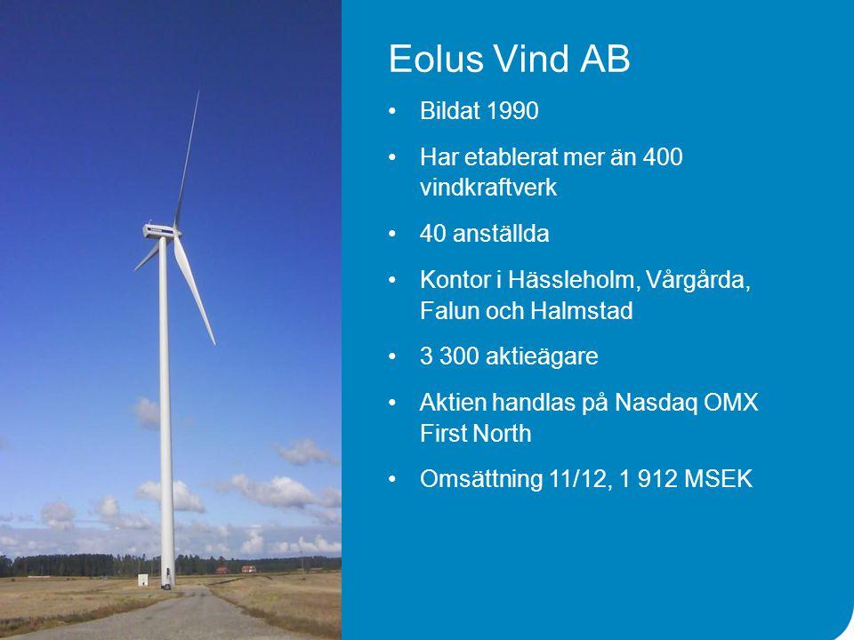 Eolus Vind AB Bildat 1990 Har etablerat mer än 400 vindkraftverk