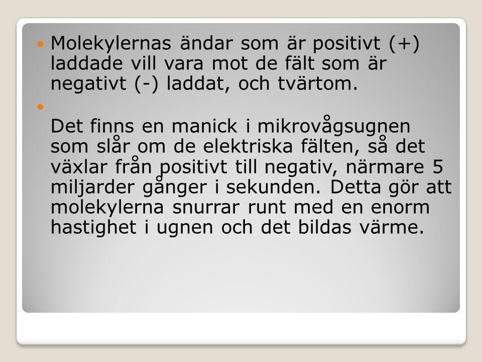 Molekylernas ändar som är positivt (+) laddade vill vara mot de fält som är negativt (-) laddat, och tvärtom.