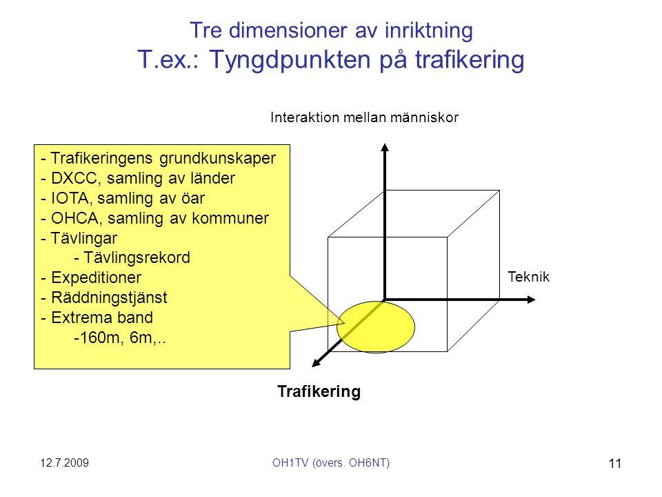 Tre dimensioner av inriktning T.ex.: Tyngdpunkten på trafikering