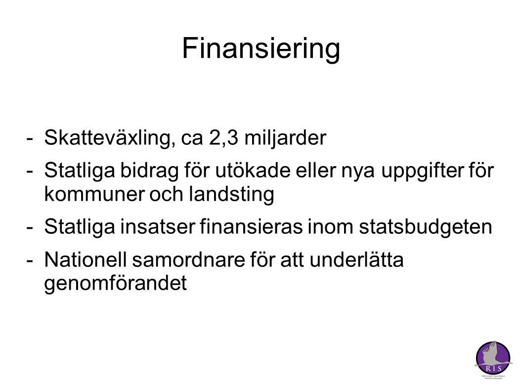 Finansiering Skatteväxling, ca 2,3 miljarder