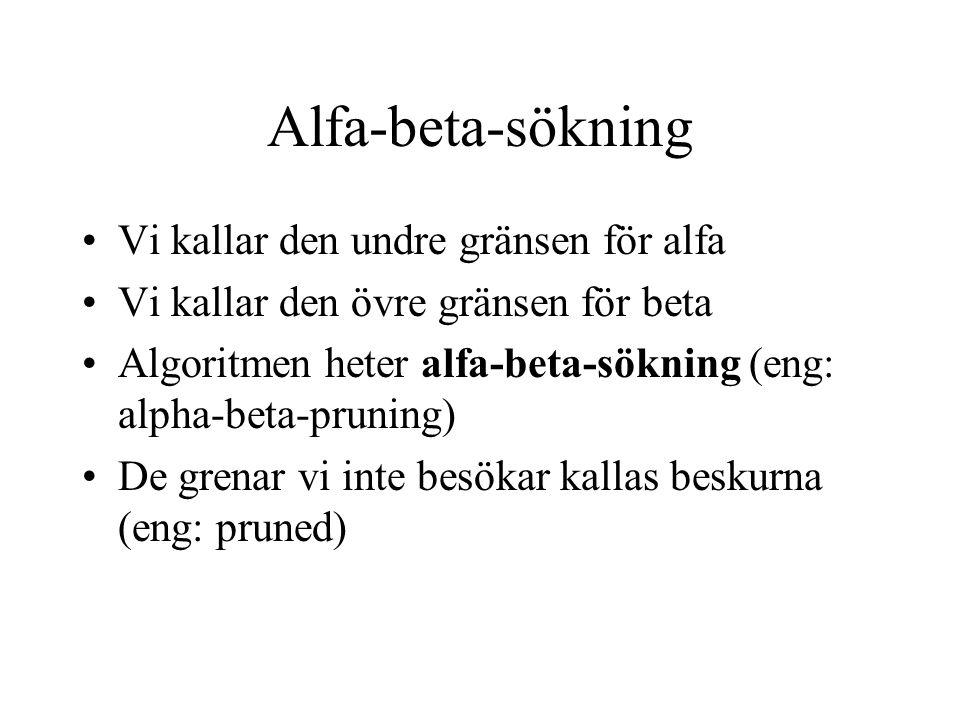 Alfa-beta-sökning Vi kallar den undre gränsen för alfa