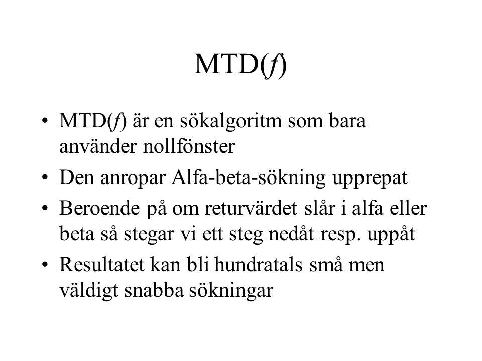 MTD(f) MTD(f) är en sökalgoritm som bara använder nollfönster