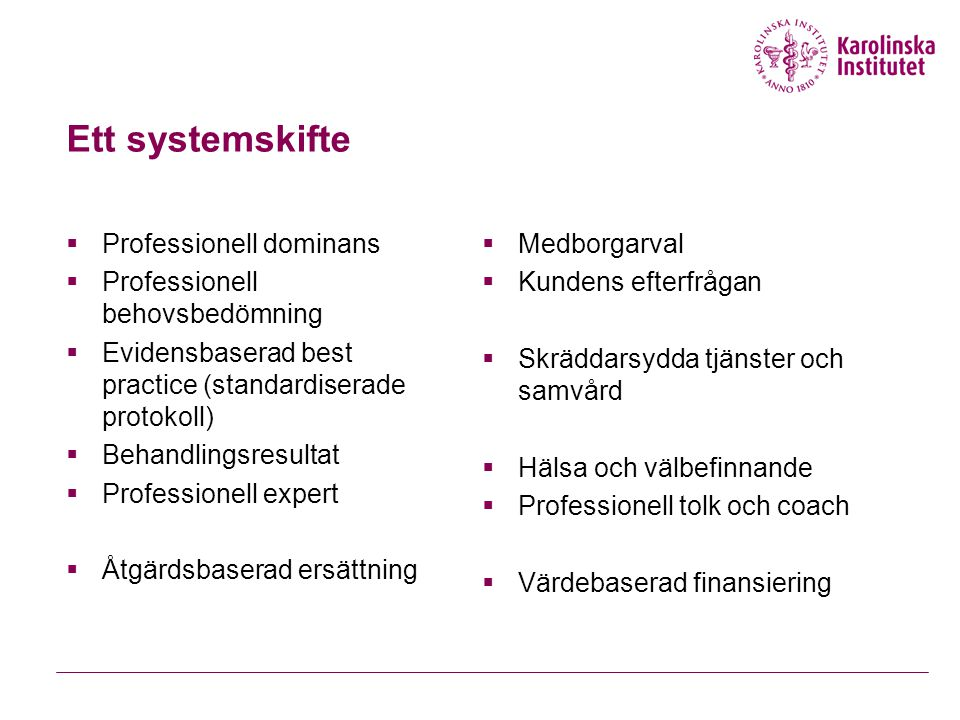 Ett systemskifte Professionell dominans Professionell behovsbedömning