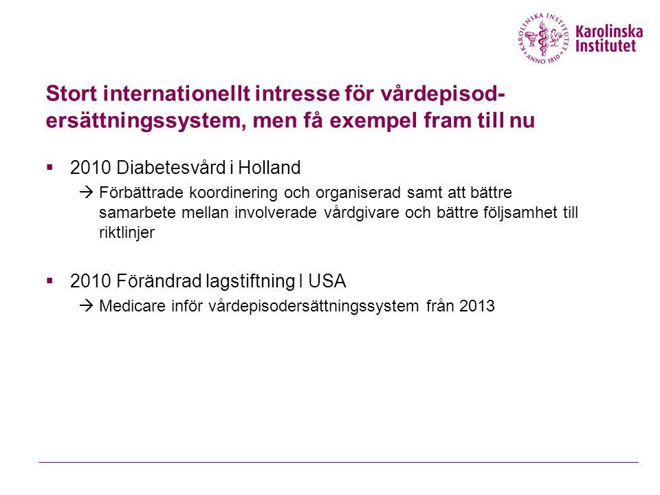 Stort internationellt intresse för vårdepisod-ersättningssystem, men få exempel fram till nu