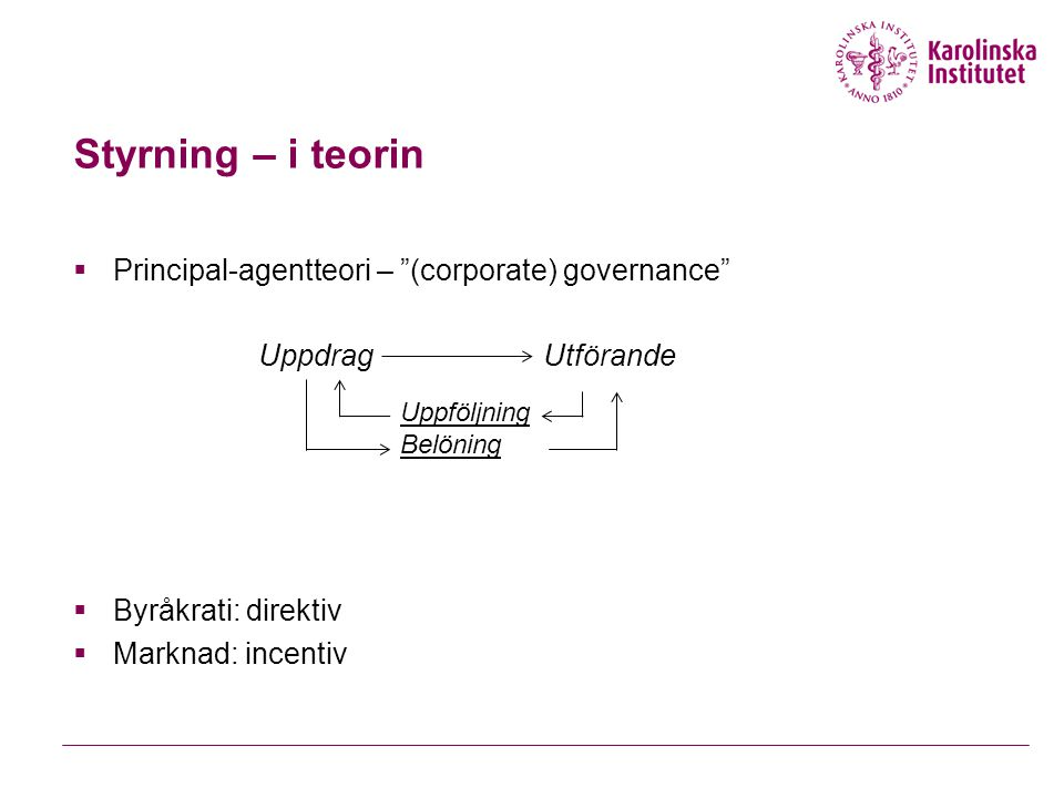 Styrning – i teorin Principal-agentteori – (corporate) governance