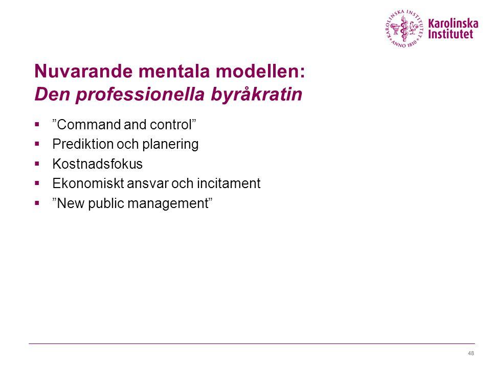 Nuvarande mentala modellen: Den professionella byråkratin