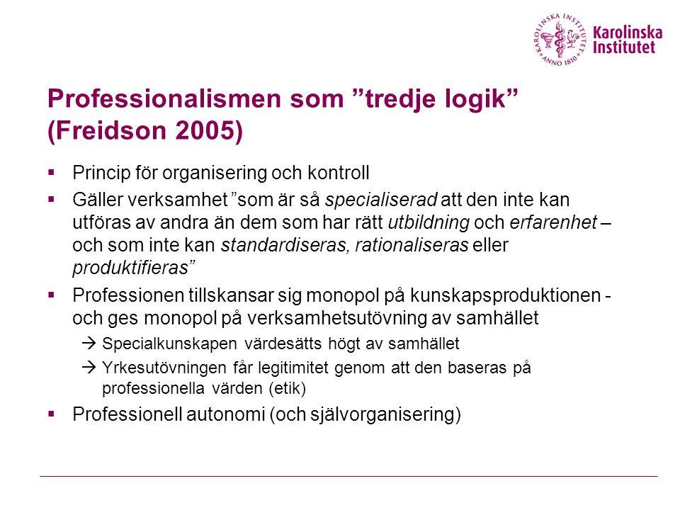 Professionalismen som tredje logik (Freidson 2005)