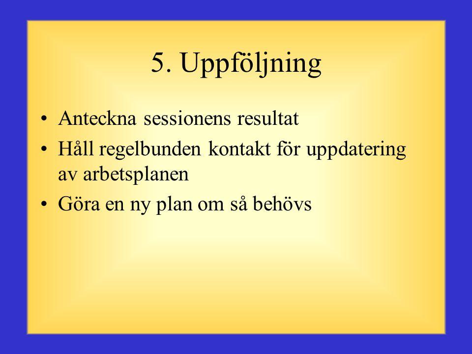 5. Uppföljning Anteckna sessionens resultat