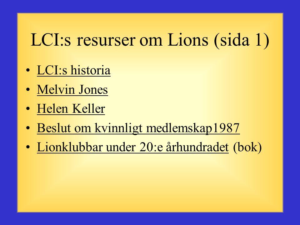 LCI:s resurser om Lions (sida 1)