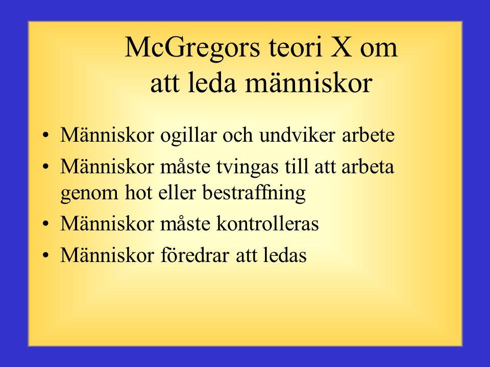 McGregors teori X om att leda människor