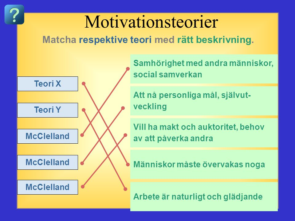 Motivationsteorier Matcha respektive teori med rätt beskrivning.