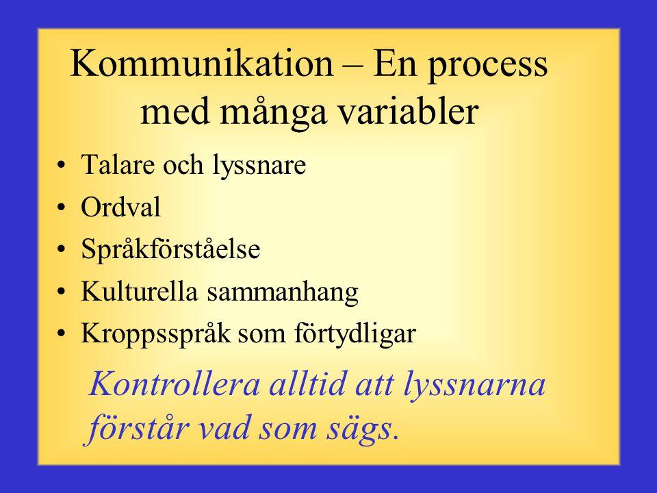Kommunikation – En process med många variabler